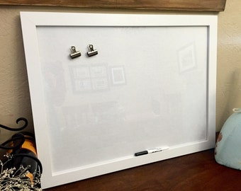 Magnetic Dry Erase Framed Message Board, bulletin, memo, white,  linen fabric 18x24""