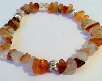 Carnelian and silver gemstone bracelet