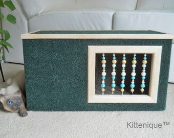 Green Beaded Cat House - Wooden Cat Furniture - Unique Beaded Doorway and Window with Sterling Silver - Deluxe Carpeted Cat Condo, Cat Cave.