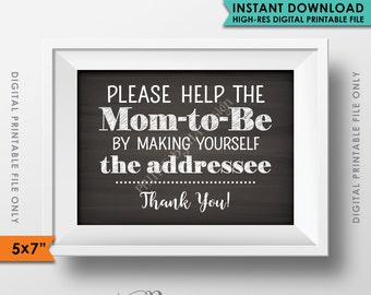 """Baby Shower Address Envelope Sign, Help the Mom-to-Be Address an envelope Shower Decoration 5x7"""" Chalkboard Style Instant Download Printable"""