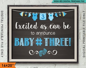 """Baby Number 3 Photo Prop, BOY Gender Reveal, 3rd Baby #3 Expecting Announcement, 16x20"""" Chalkboard Style Instant Download Digital Printable"""