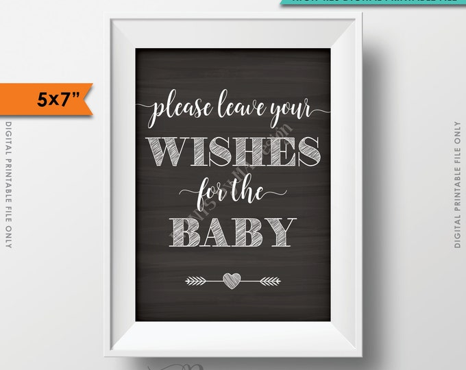"Wishes for Baby Printable Sign, Baby Shower Sign, Please Leave your Wishes for the Baby Chalkboard 5x7"" Instant Download Digital Printable"