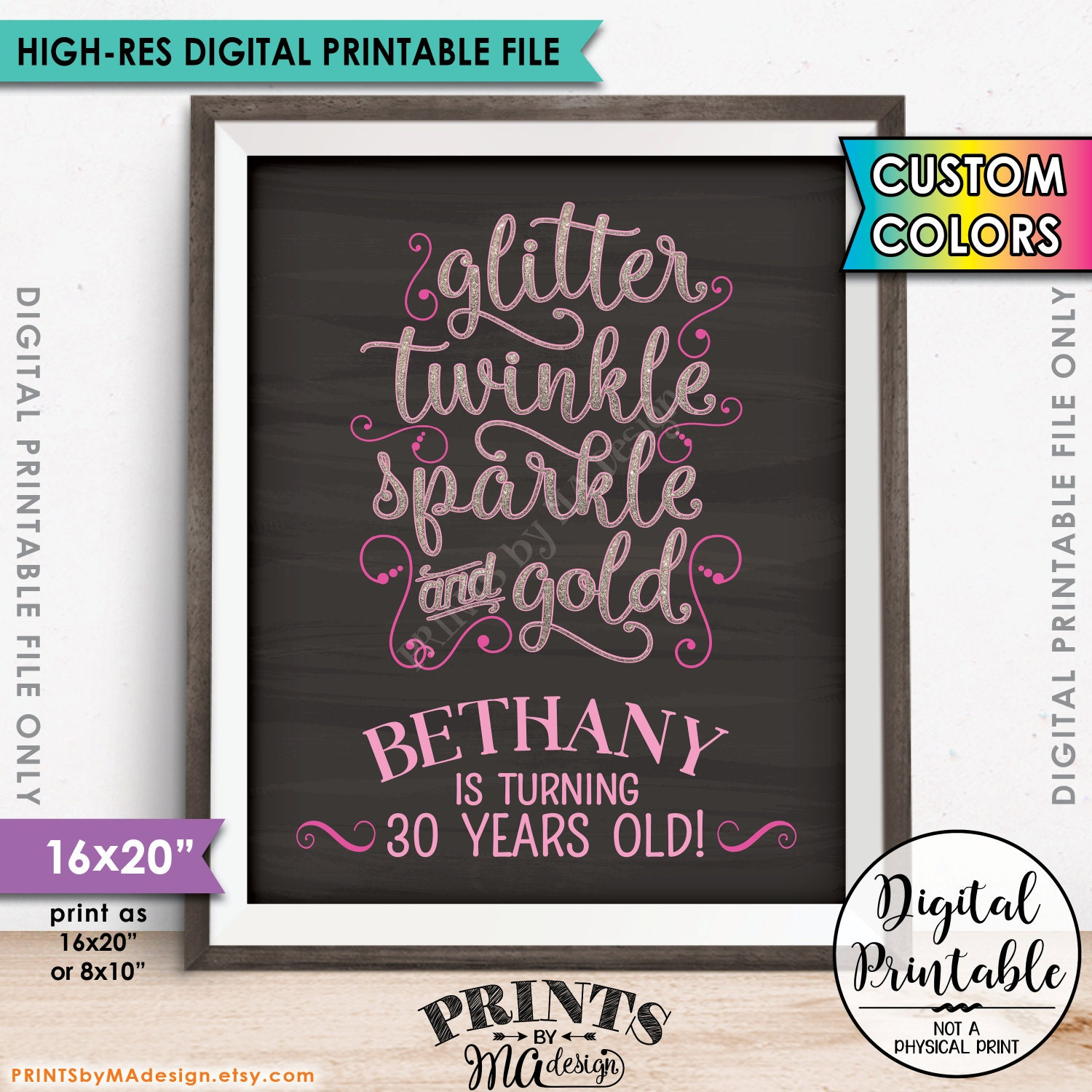 Design a 16x20 poster - Birthday Sign Glitter Twinkle Sparkle And Gold B Day Decor Glitter Birthday Poster 8x10 16x20 Chalkboard Style Digital Printable File