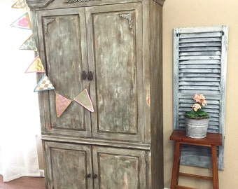 SOLD - Rustic Distressed Armoire - Wardrobe - TV Cabinet.