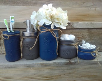 dark blue bathroom accessories. Navy Bathroom Decor  and Gray Mason Jar Set bathroom Etsy