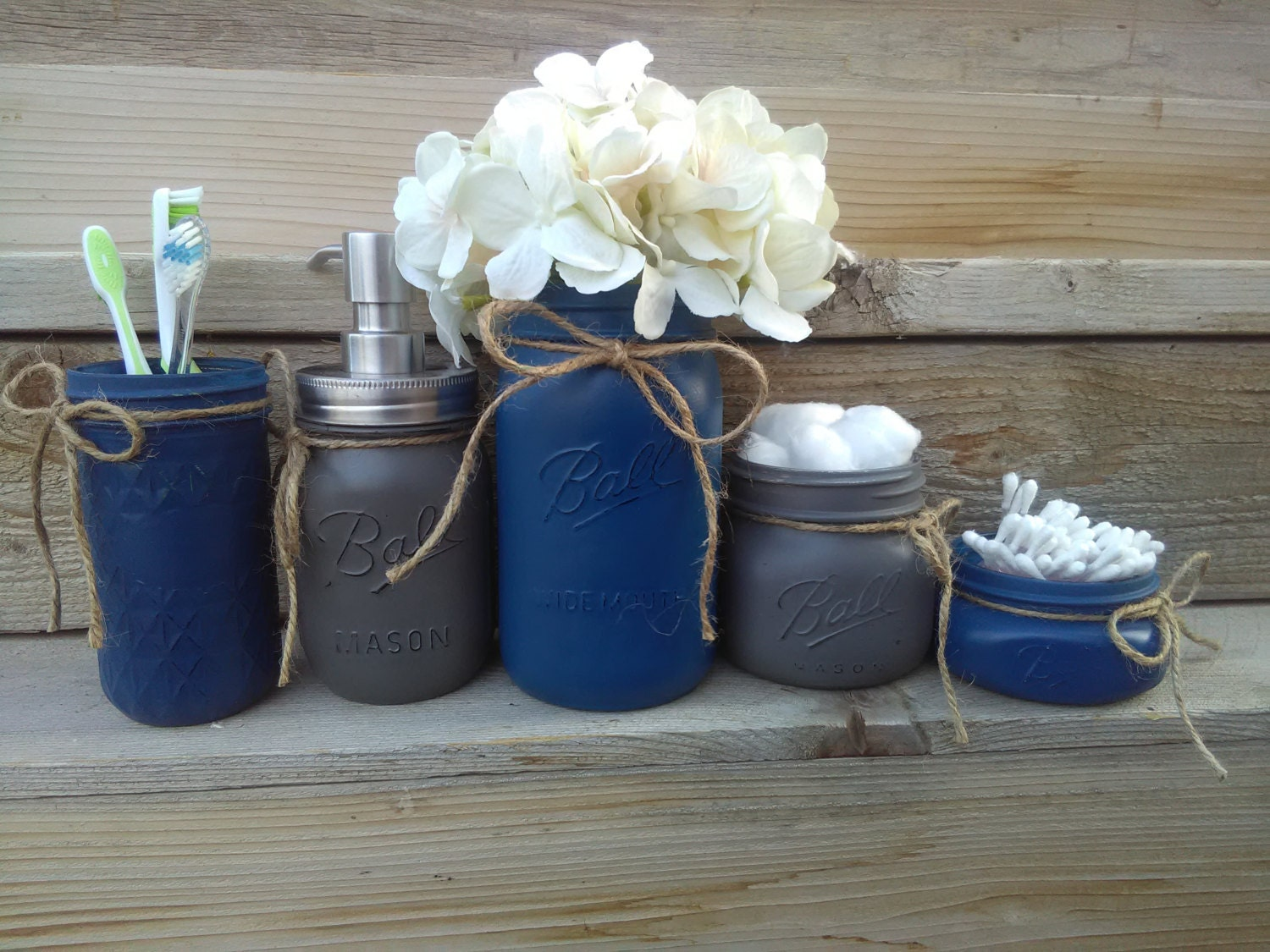 Navy bathroom decor navy and gray mason jar bathroom set for Blue and grey bathroom sets