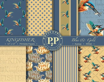 DigitalPapers_Kingfisher_Blue&Gold for craft projects_scrapbooking