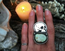 Large handmade Skull Keeper sterling silver with natural  Australian variscite statement ring made to your size momento mori witchy gothic
