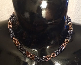 Chainmail anodized titanium necklace