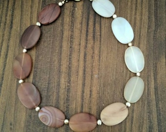 """Carnelian Oval Semi-Precious Stone Necklace with Pearl Accent Beads.  18"""" Long"""