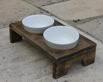 Cat Bowl Stand - Grey Mosaic Bowl