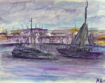 Original Watercolour Painting of Boats on a Lake