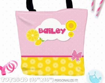 SALE lemonade Personalized Tote Bags, custom Tote bag, kids tote, school tote, kindergarten tote, beach tote bag, Tote Bags TB136