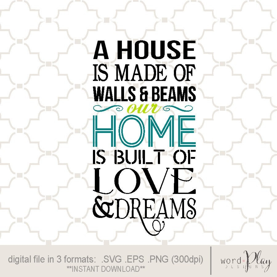 Svg House Made Of Love And Dreams Digital Download Eps Png