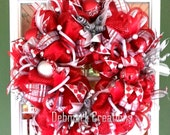 Christmas wreath, Red and silver Christmas wreath, Front door wreath, Mesh wreath