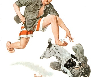 A Boy's Best Friend, Post Cover from August 1919 by Norman Rockwell