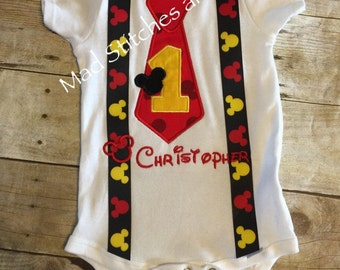 Mickey Mouse tie custom embroidered birthday shirts
