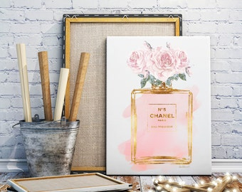 Watercolor perfume canvas, Size Choice Printed & mounted, Canvas wall art ,Pink, Roses, gold effect, watercolor ,watercolour,blush pink,art
