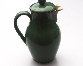 """Handcrafted Denby Stoneware Coffee Pot in the Manor Green Pattern 8.5"""""""