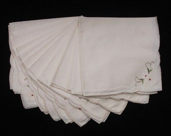"Ten Pale Cream Cotton Napkins with an embroidered floral motif 16"" x 15"" (Ref 2535)"