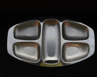 Alfra Alessi Five Section Stainless Steel Hors D'oeuvres or Serving Tray 17.75 x 10 inches Sourced in Italy