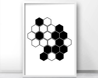 Black And White Wall Art Print, Modern Print, Geometric Art, Digital Wall Art, Instant Digital Download Art,  Black And White Home Decor Art
