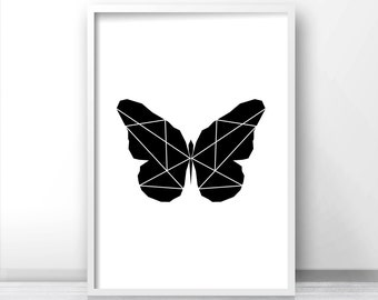 Butterfly Print, Digital Download Printable Art, Black And White Print, Printable Wall Art, Geometric Art Print, Modern Art, Wall Art Print