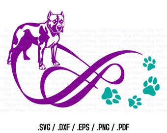 Boxer Puppy, Love Infinity Puppy Clipart, Veterinary Office Wall Art, Animal SVG File, Silhouette Studio, Cricut Design, Brother - CA109