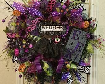 Halloween Witch Wreath, Halloween Decor,Witch Wreath, Halloween Wreath, Halloween Decor, Witch Decor,Door Halloween Wreath, Witch, Halloween