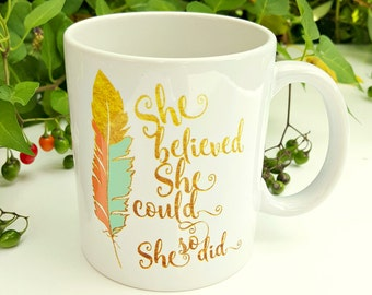She Believed She Could so She Did - Coral and Mint Feather - She Believed - Birth Affirmation Gift