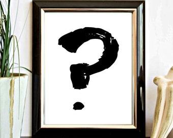 Monochrome Printable Wall Art- Question Mark Print- Punctuation Symbol Art- Office Decor- Minimalist Black Wall Decor - Teen Room Wall Decor