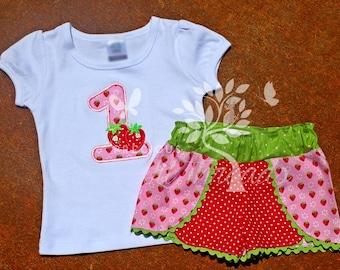 Toddler Girls Strawberry Birthday Shirt- Girls Strawberry Birthday Number- Strawberry birthday outfit- 6m, 12m, 18m, 2t, 3t, 4t, 5t, 6, 8