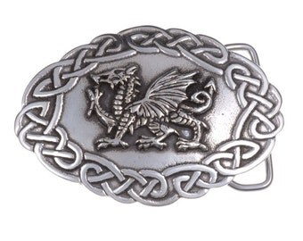 Welsh dragon belt buckle (large)  40mm-Hand Made and Design in UK