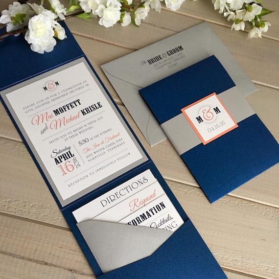 Navy Blue Wedding Invitations Modern: Navy And Coral Wedding Invitations Modern By
