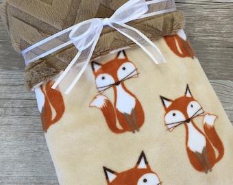 Fox Baby Blanket, Fox Minky Baby Blanket, Fox Nursery, Minky Stroller Blanket, Gender Neutral Crib Blanket