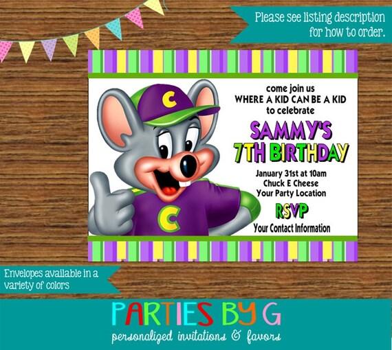 Chuck E. Cheese Birthday Party Invitations Invites By