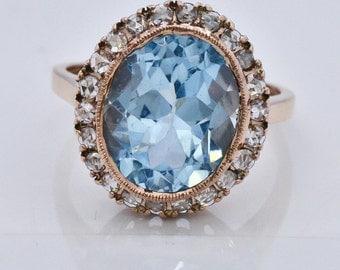 Blue Topaz, Diamonds, 9KT Rose Gold Ring
