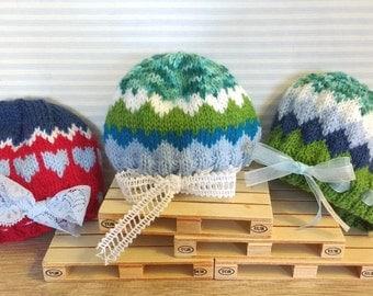 Blythe jacquard knit hat with Ribbon