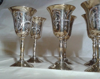 Six silver plated little goblets