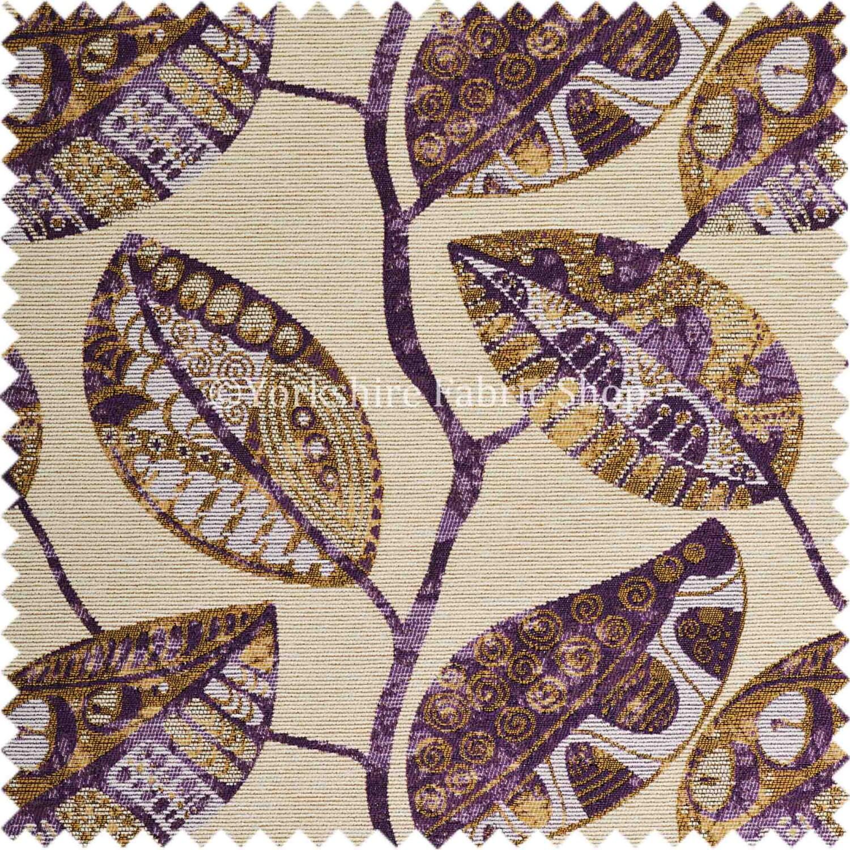Quality Soft Woven Purple Beige Colour Floral Flower Leaf