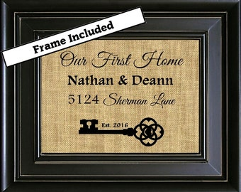 FRAMED Housewarming Gift Realtor Closing Gift Skeleton Key Our First Home Personalized Address Sign New House Gift House warming Gifts