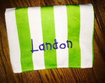 Monogrammed or Personalized Beach / Pool Striped Towel