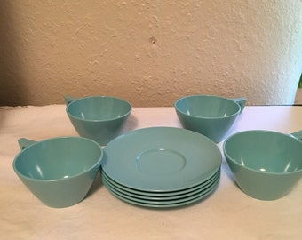 Texas Ware Blue Tea Cups and Saucers Set of 4