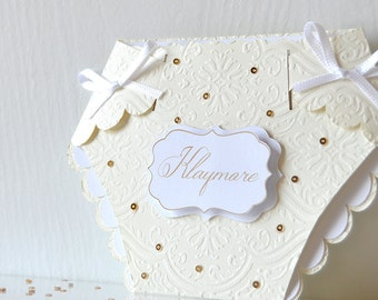 Gilded Diaper Invitation: ivory and white, vanilla, Baby Shower, seqiuns and glitter, beige ribbons, mommy to be, parents to be- LRD021B