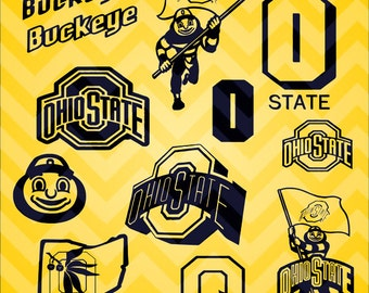 14- Ohio State Buckeyes vector art png-dxf-svg in 1 zip file .