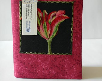 Fabric covered notebook with tulip (unlined)