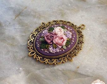 NER5 Mauve roses necklace