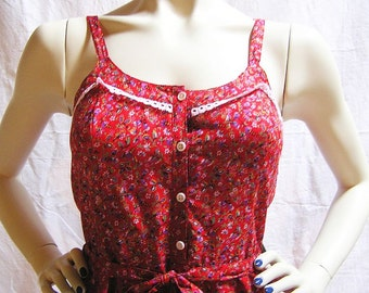 """70s-80s Sweet Summer Dress """"Forget me not"""" / 100% cotton / Betty Barclay"""