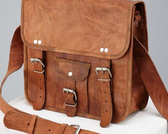 Midi Leather Satchel With Front Pocket By Vida Vida