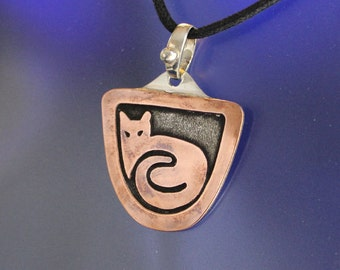 Mixed Metal Cat Pendant Handcrafted